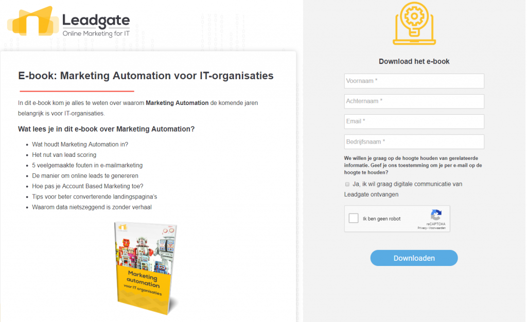 Landingspagina Marketing Automation