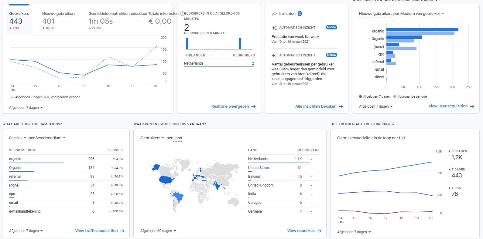 Afbeelding 4 Overzichtspagina Google Analytics 4